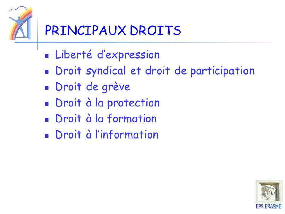 PRINCIPAUX DROITS Liberté dexpression Droit syndical et droit de participation Droit de grève Droit à la protection Droit à la formation Droit à linfo
