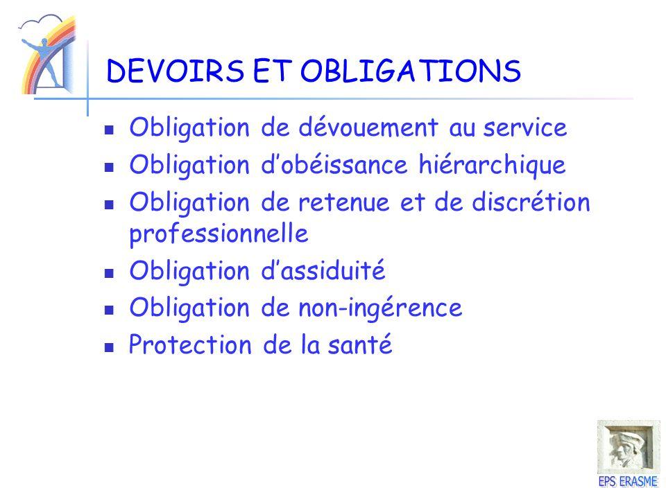 DEVOIRS ET OBLIGATIONS Obligation de dévouement au service Obligation dobéissance hiérarchique Obligation de retenue et de discrétion professionnelle