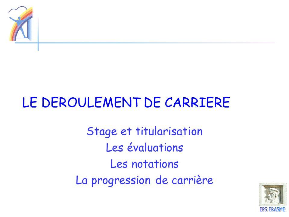 LE DEROULEMENT DE CARRIERE Stage et titularisation Les évaluations Les notations La progression de carrière