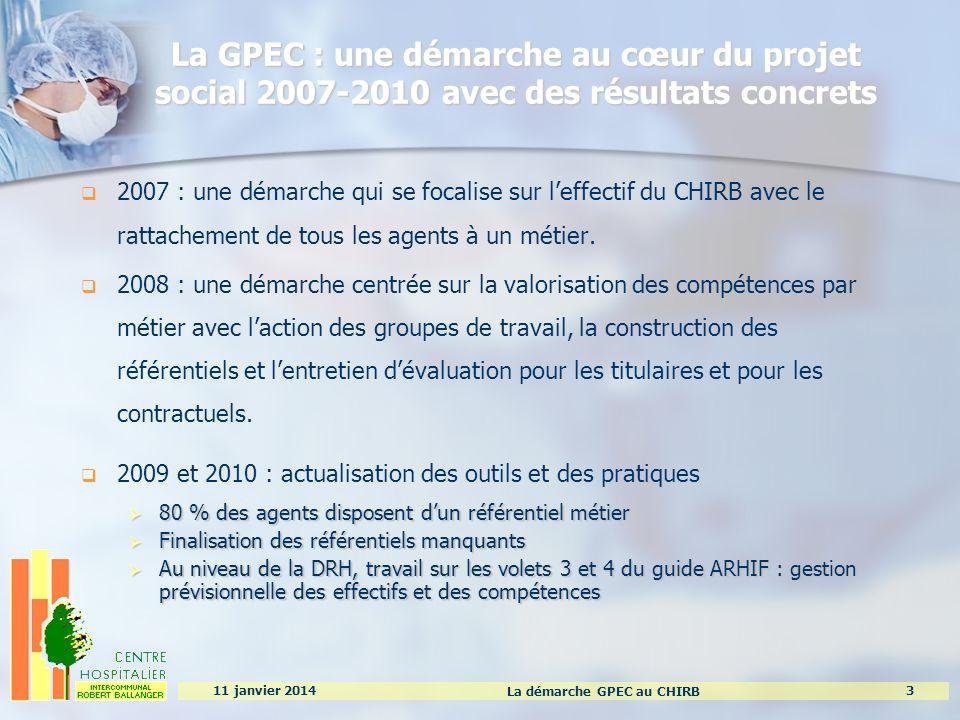 La démarche GPEC au CHIRB 3 11 janvier 2014 La GPEC : une démarche au cœur du projet social 2007-2010 avec des résultats concrets 2007 : une démarche