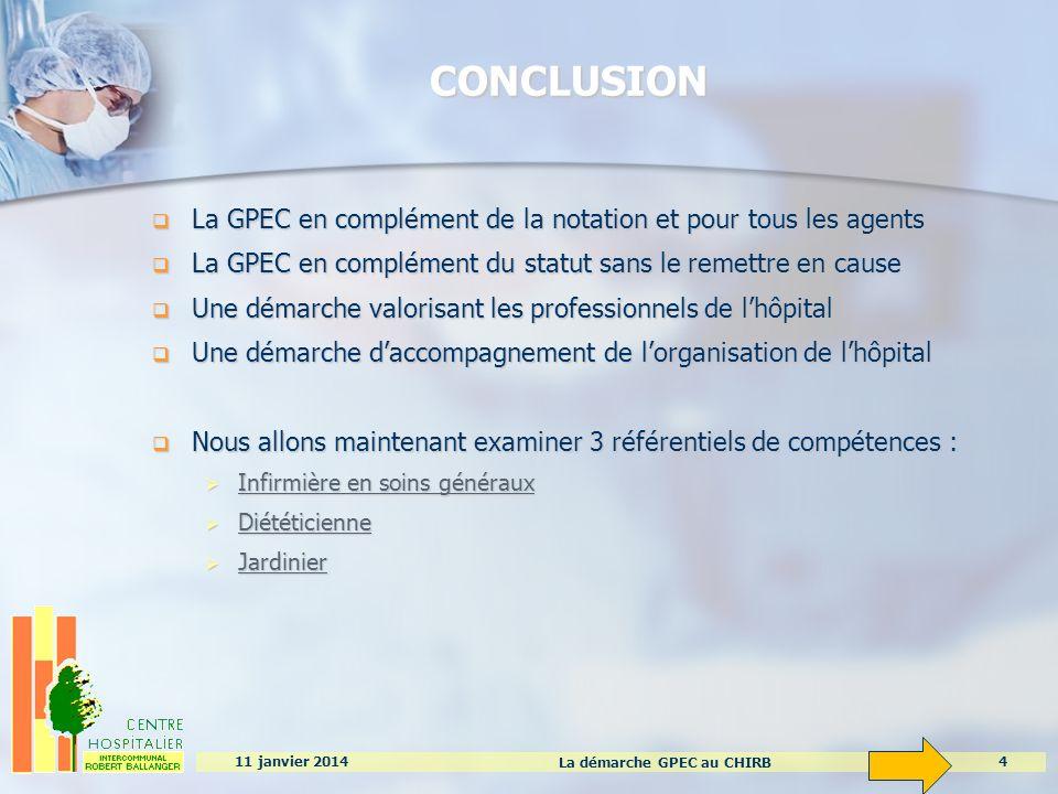 La démarche GPEC au CHIRB 4 11 janvier 2014 CONCLUSION La GPEC en complément de la notation et pour tous les agents La GPEC en complément de la notati