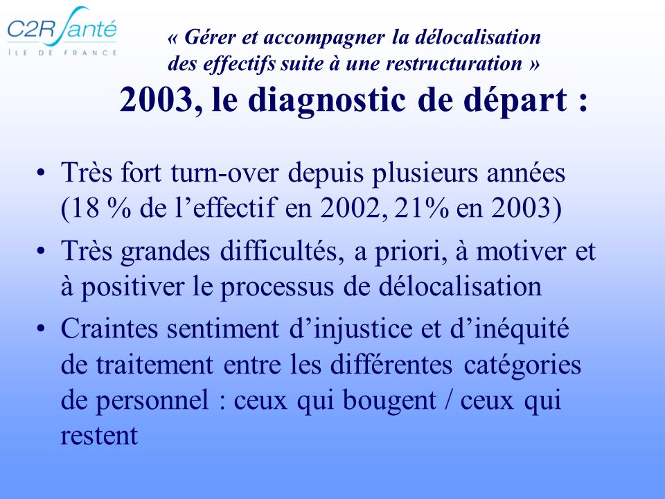 « Gérer et accompagner la délocalisation des effectifs suite à une restructuration » 2003, le diagnostic de départ : Très fort turn-over depuis plusie