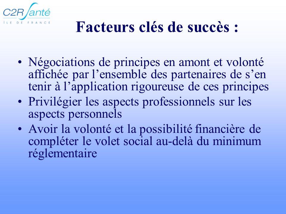Facteurs clés de succès : Négociations de principes en amont et volonté affichée par lensemble des partenaires de sen tenir à lapplication rigoureuse