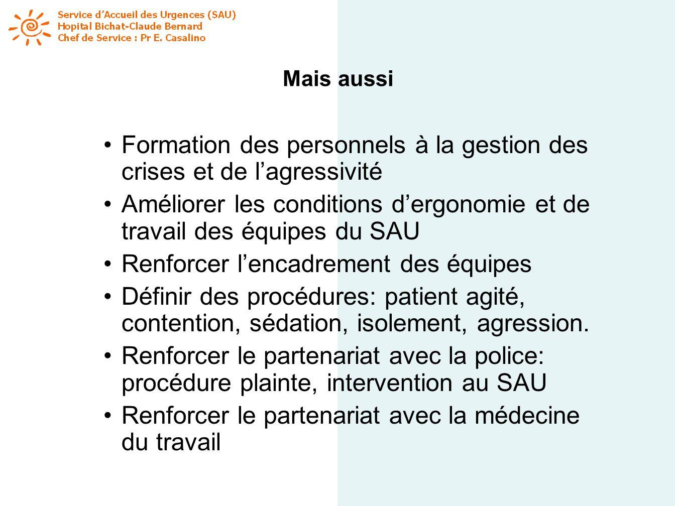 Mais aussi Formation des personnels à la gestion des crises et de lagressivité Améliorer les conditions dergonomie et de travail des équipes du SAU Re