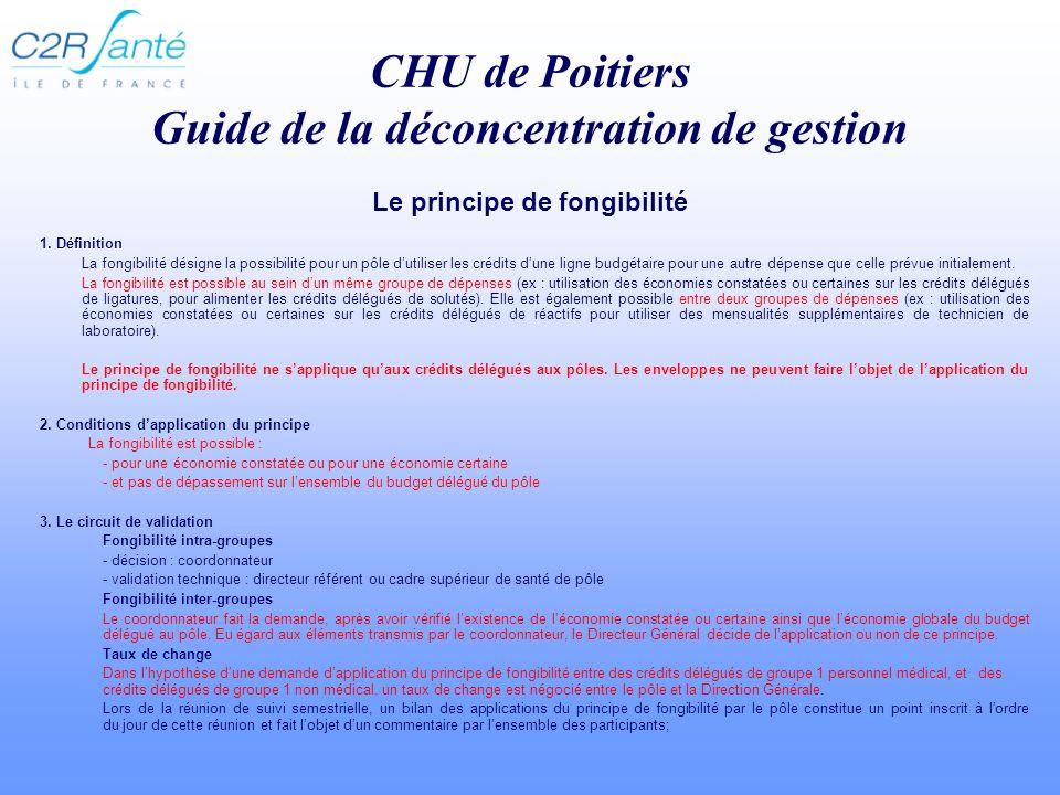 CHU de Poitiers Guide de la déconcentration de gestion 1.
