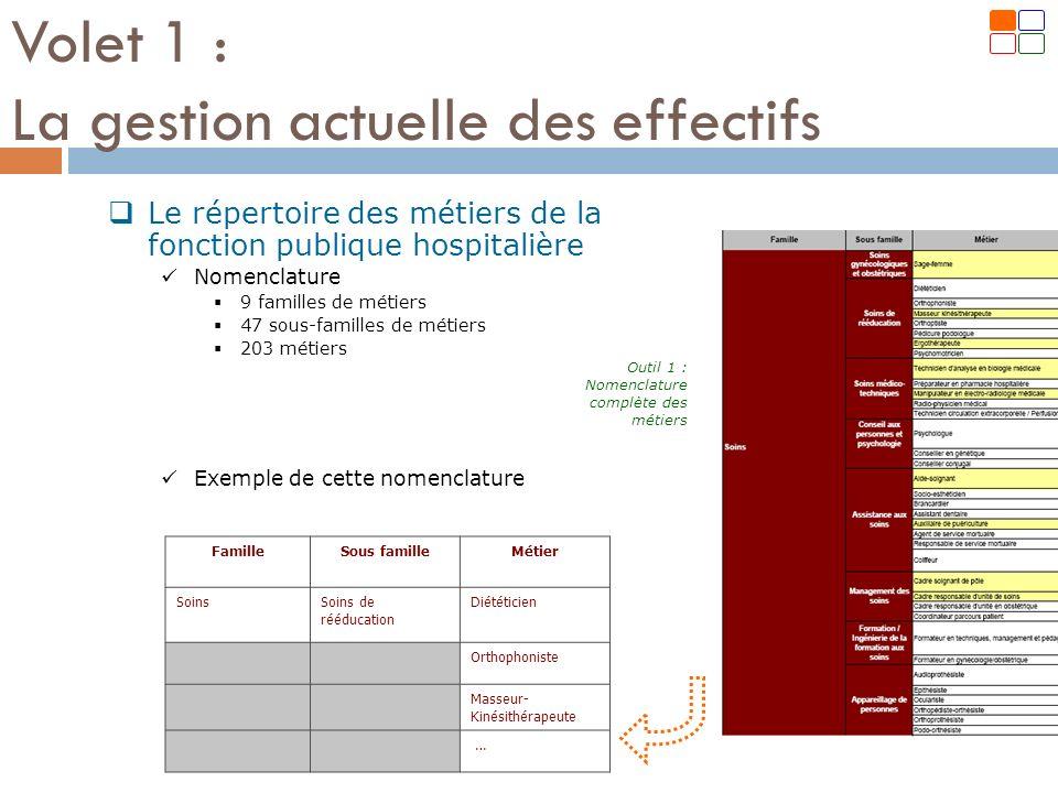 Le répertoire des métiers de la fonction publique hospitalière Nomenclature 9 familles de métiers 47 sous-familles de métiers 203 métiers Exemple de c