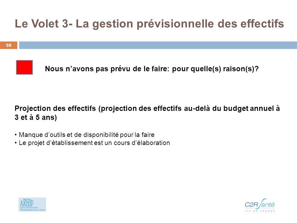 Le Volet 3- La gestion prévisionnelle des effectifs Projection des effectifs (projection des effectifs au-delà du budget annuel à 3 et à 5 ans) Manque
