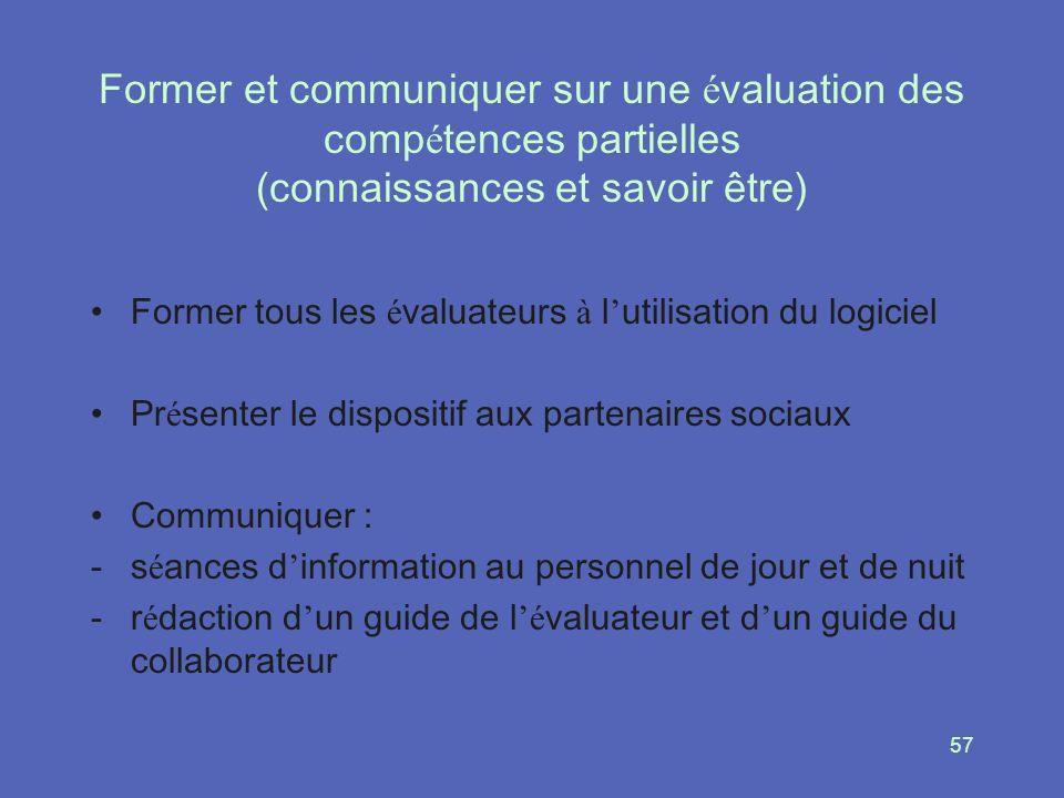 57 Former et communiquer sur une é valuation des comp é tences partielles (connaissances et savoir être) Former tous les é valuateurs à l utilisation