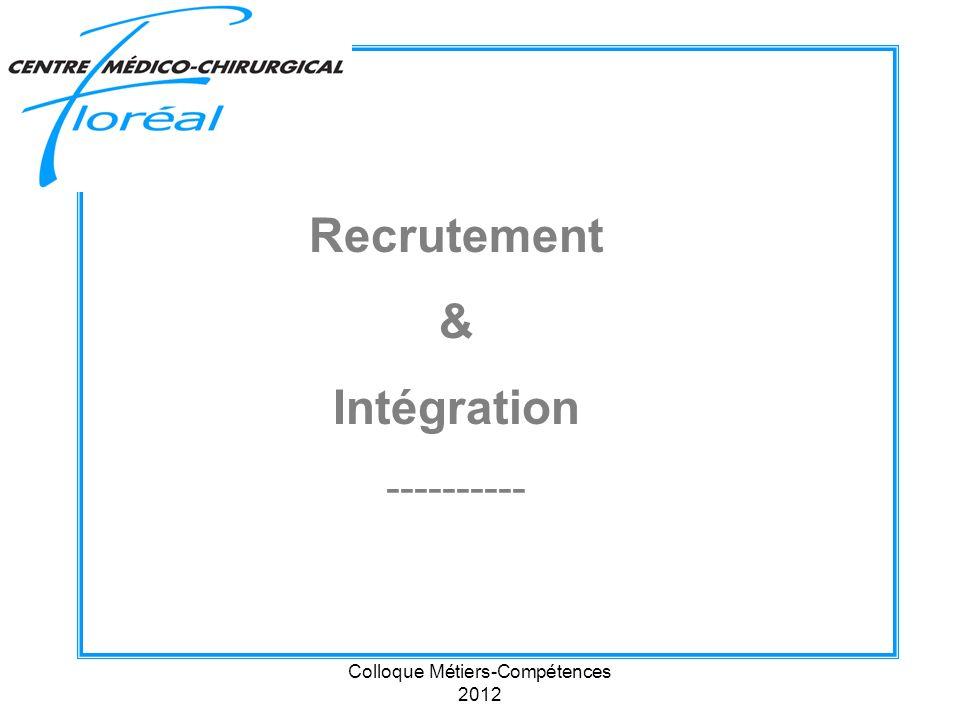 Colloque Métiers-Compétences 2012 Recrutement & Intégration ----------