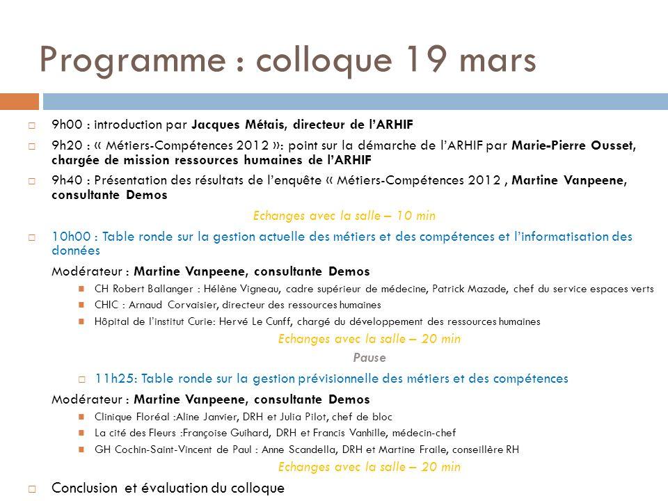 Programme : colloque 19 mars 9h00 : introduction par Jacques Métais, directeur de lARHIF 9h20 : « Métiers-Compétences 2012 »: point sur la démarche de