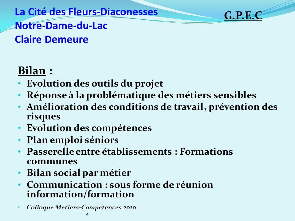 La Cité des Fleurs-Diaconesses Notre-Dame-du-Lac Claire Demeure Bilan : Evolution des outils du projet Réponse à la problématique des métiers sensible