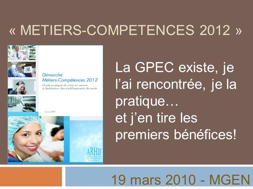 « METIERS-COMPETENCES 2012 » La GPEC existe, je lai rencontrée, je la pratique… et jen tire les premiers bénéfices! 19 mars 2010 - MGEN