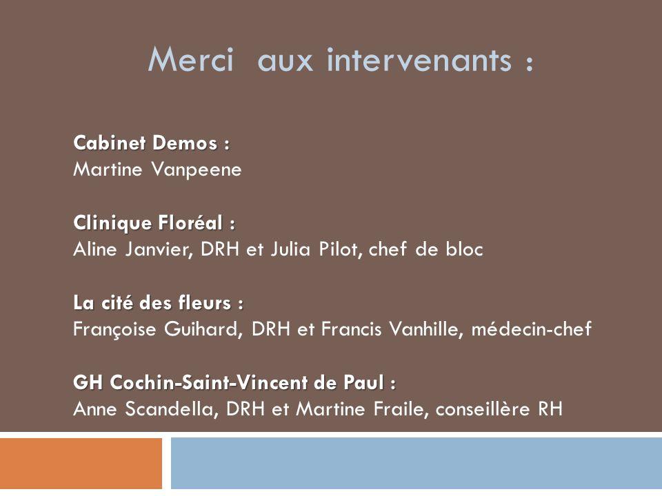 Merci aux intervenants : Cabinet Demos : Martine Vanpeene Clinique Floréal : Aline Janvier, DRH et Julia Pilot, chef de bloc La cité des fleurs : Fran