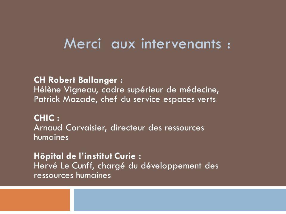 Merci aux intervenants : CH Robert Ballanger : Hélène Vigneau, cadre supérieur de médecine, Patrick Mazade, chef du service espaces verts CHIC : Arnau