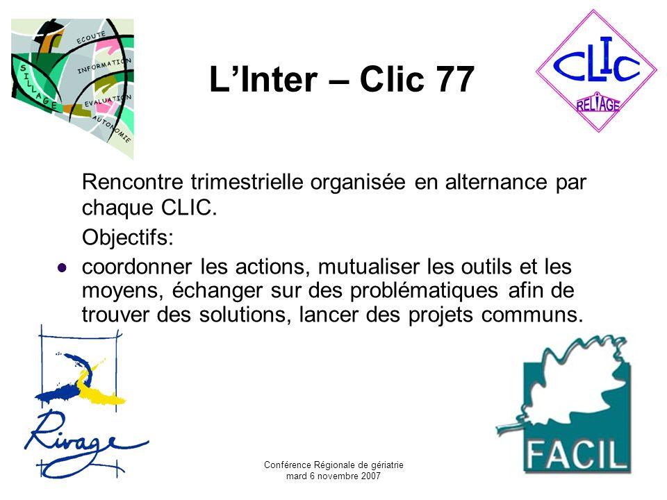 Conférence Régionale de gériatrie mard 6 novembre 2007 LInter – Clic 77 Rencontre trimestrielle organisée en alternance par chaque CLIC. Objectifs: co