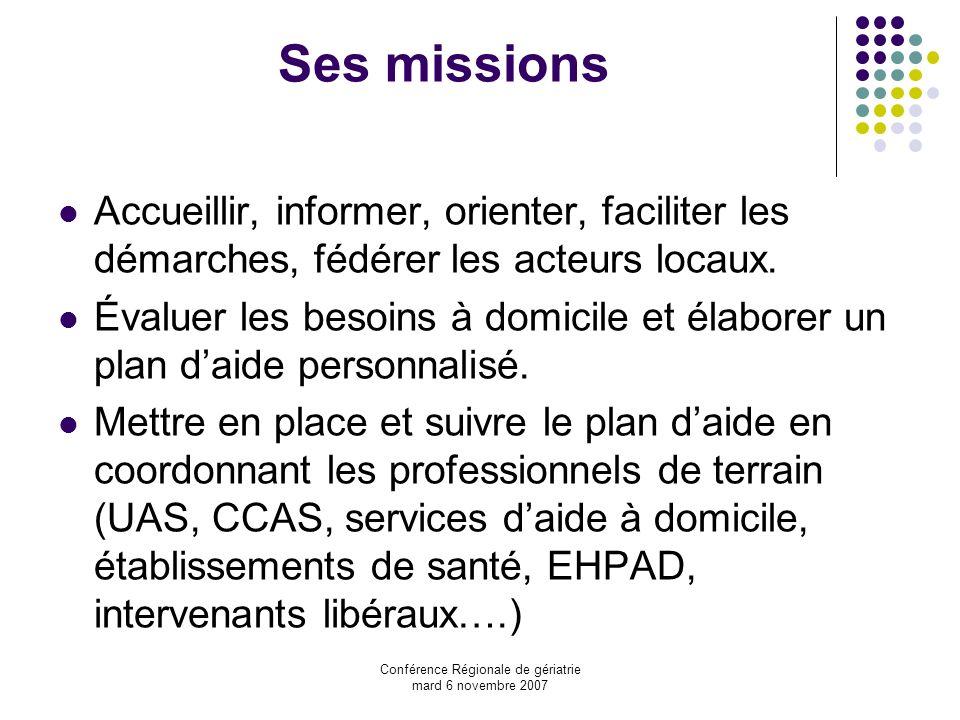 Conférence Régionale de gériatrie mard 6 novembre 2007 Ses missions Accueillir, informer, orienter, faciliter les démarches, fédérer les acteurs locau