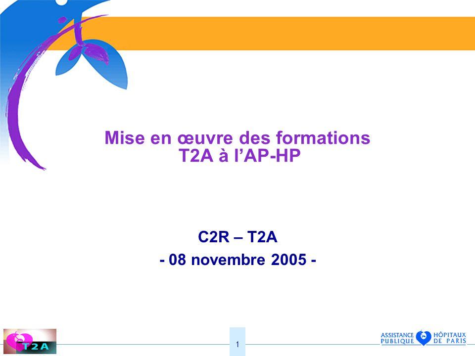 1 Mise en œuvre des formations T2A à lAP-HP C2R – T2A - 08 novembre 2005 -