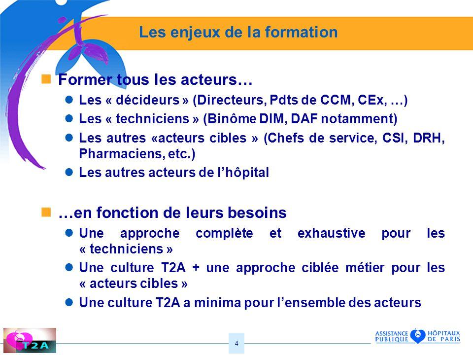 4 Les enjeux de la formation Former tous les acteurs… Les « décideurs » (Directeurs, Pdts de CCM, CEx, …) Les « techniciens » (Binôme DIM, DAF notamme