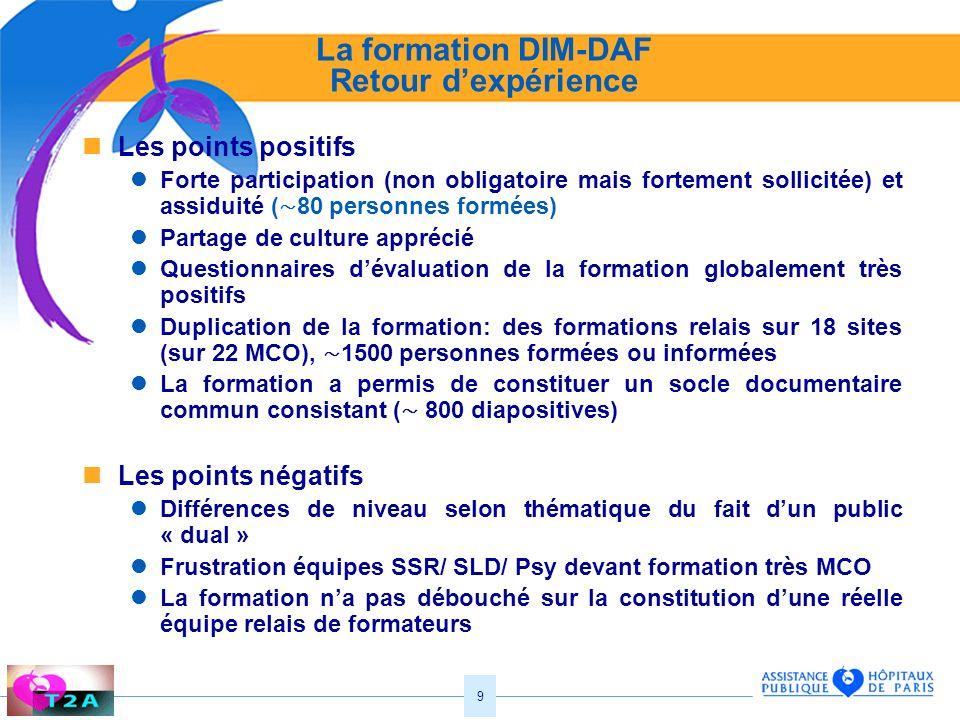9 La formation DIM-DAF Retour dexpérience Les points positifs Forte participation (non obligatoire mais fortement sollicitée) et assiduité ( 80 person