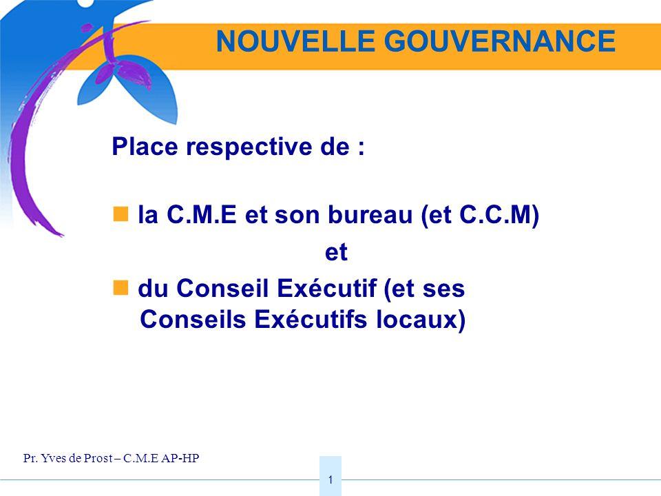 1 Place respective de : la C.M.E et son bureau (et C.C.M) et du Conseil Exécutif (et ses Conseils Exécutifs locaux) NOUVELLE GOUVERNANCE Pr. Yves de P
