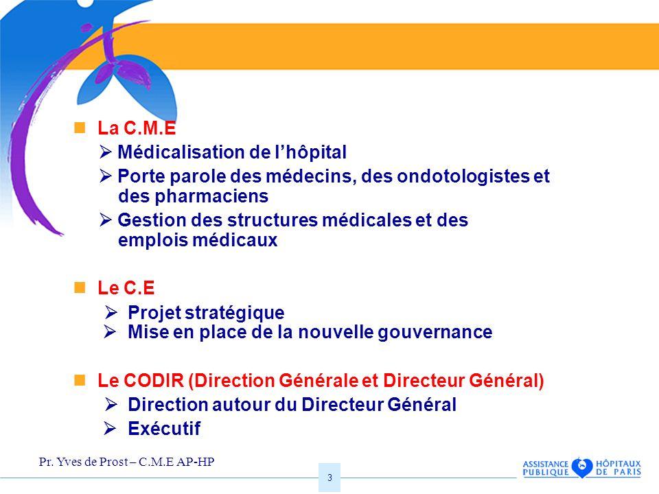 Pr. Yves de Prost – C.M.E AP-HP 3 La C.M.E Médicalisation de lhôpital Porte parole des médecins, des ondotologistes et des pharmaciens Gestion des str