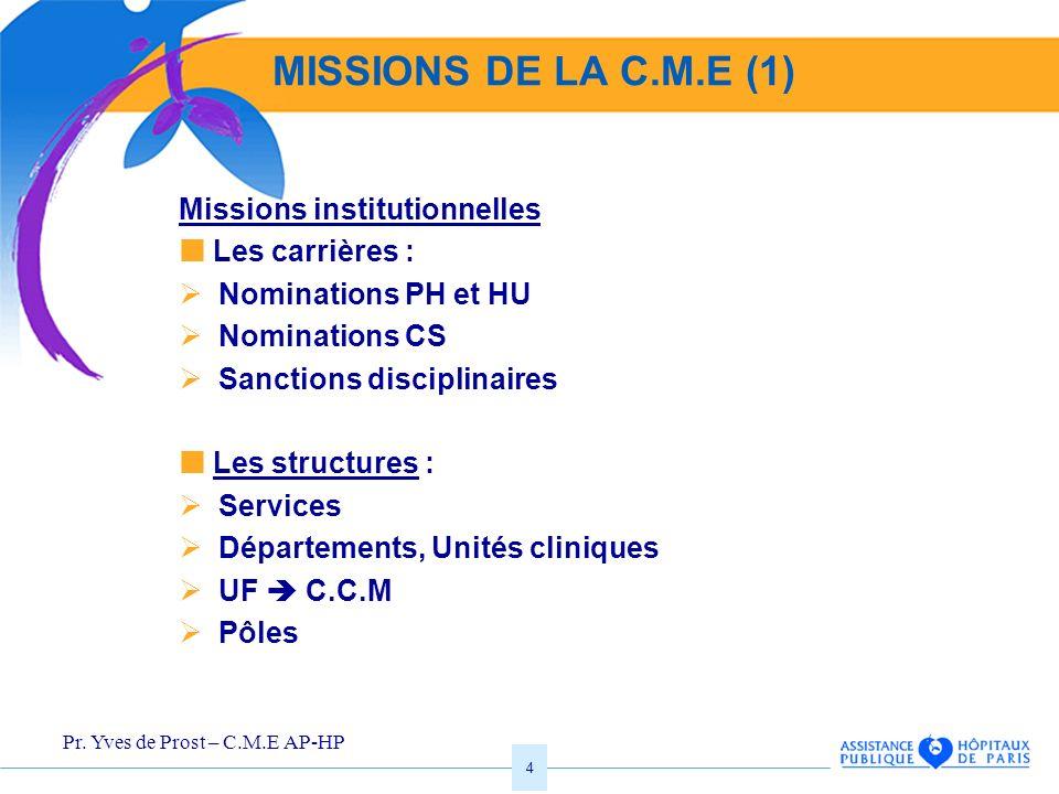 Pr. Yves de Prost – C.M.E AP-HP 4 MISSIONS DE LA C.M.E (1) Missions institutionnelles Les carrières : Nominations PH et HU Nominations CS Sanctions di
