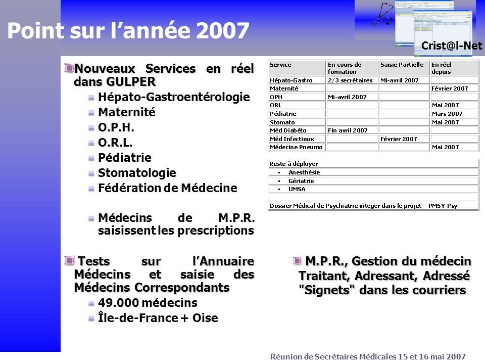 > Projet C.Net Avril 2003 Crist@l-Net Réunion de Secrétaires Médicales 15 et 16 mai 2007 Point sur lannée 2007 Nouveaux Services en réel dans GULPER Hépato-Gastroentérologie Maternité O.P.H.