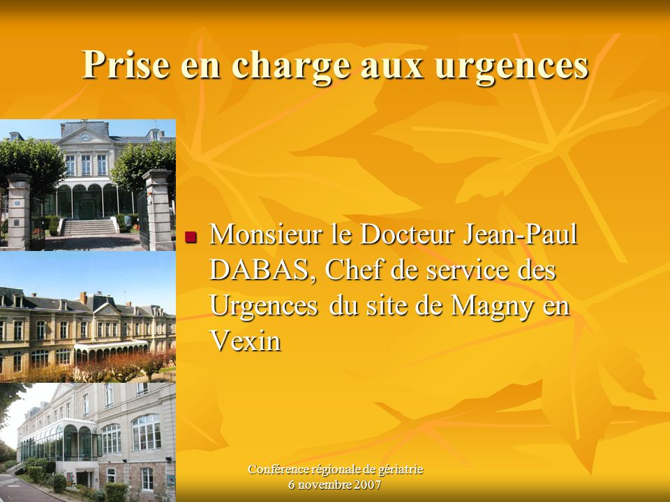 Conférence régionale de gériatrie 6 novembre 2007 Prise en charge aux urgences Monsieur le Docteur Jean-Paul DABAS, Chef de service des Urgences du si