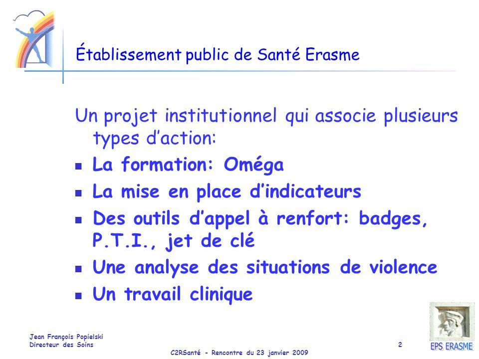 C2RSanté - Rencontre du 23 janvier 2009 Jean François Popielski Directeur des Soins2 Établissement public de Santé Erasme Un projet institutionnel qui