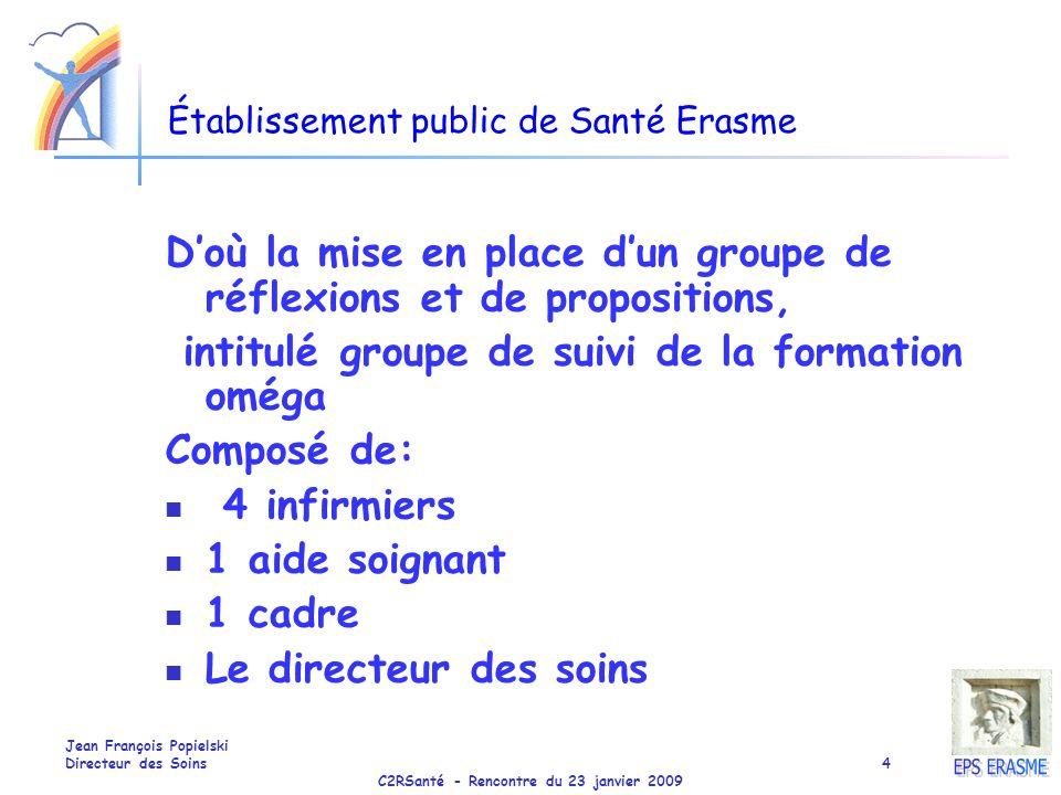 C2RSanté - Rencontre du 23 janvier 2009 Jean François Popielski Directeur des Soins4 Établissement public de Santé Erasme Doù la mise en place dun gro