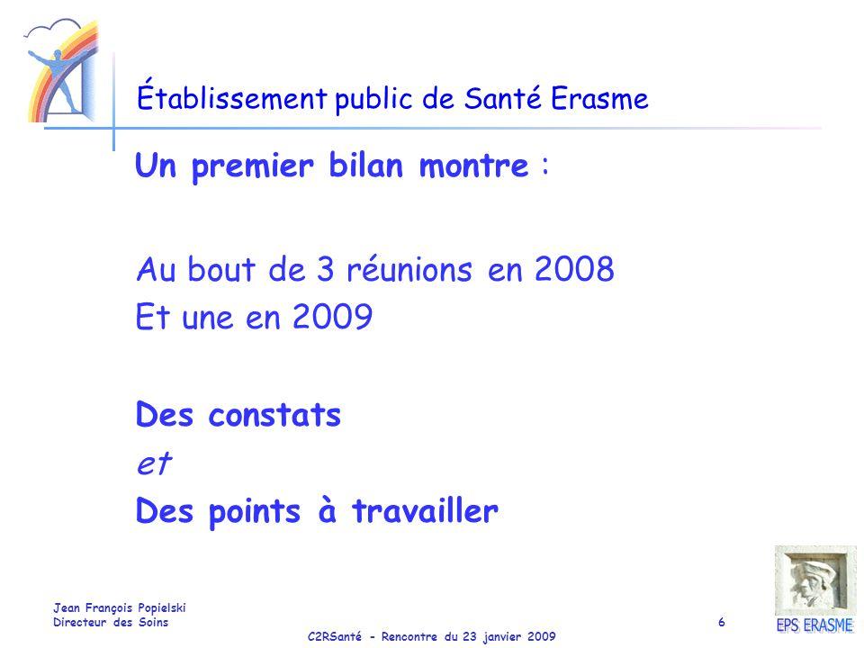 C2RSanté - Rencontre du 23 janvier 2009 Jean François Popielski Directeur des Soins6 Établissement public de Santé Erasme Un premier bilan montre : Au