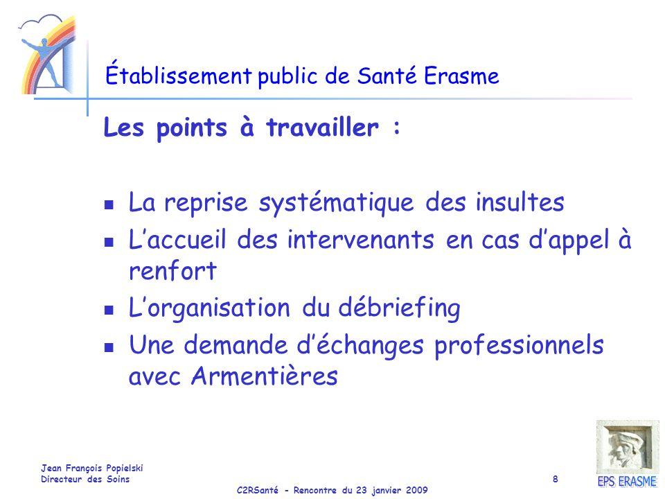 C2RSanté - Rencontre du 23 janvier 2009 Jean François Popielski Directeur des Soins8 Établissement public de Santé Erasme Les points à travailler : La