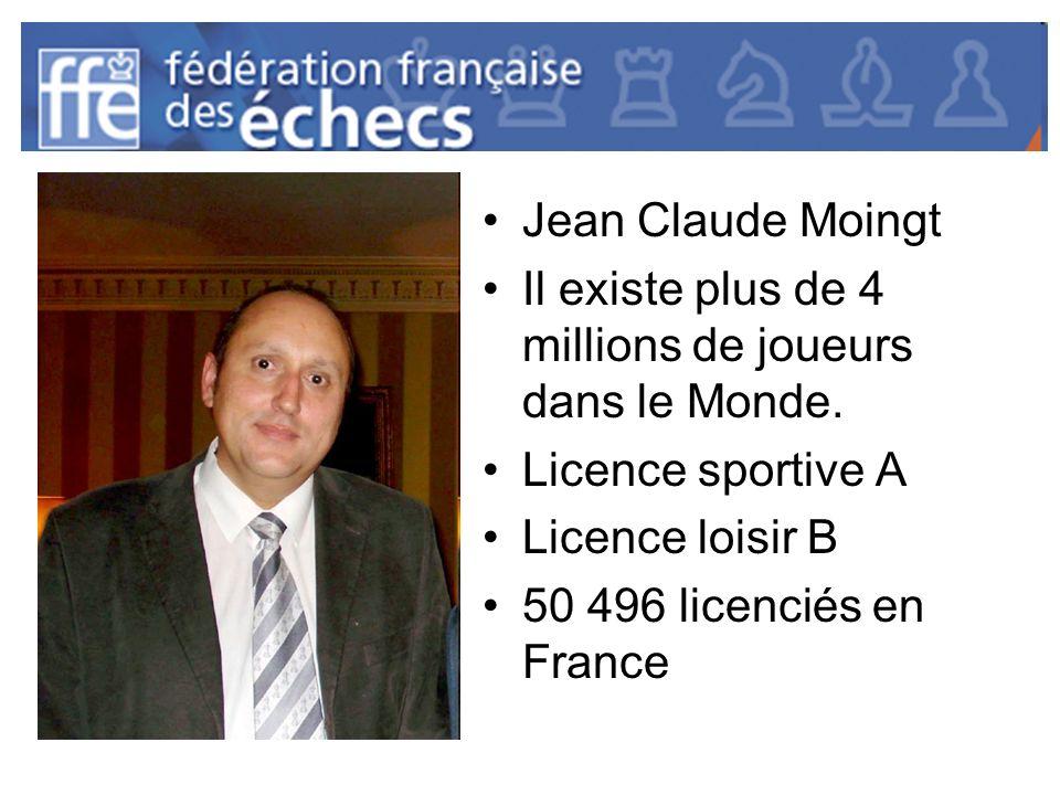 Jean Claude Moingt Il existe plus de 4 millions de joueurs dans le Monde. Licence sportive A Licence loisir B 50 496 licenciés en France