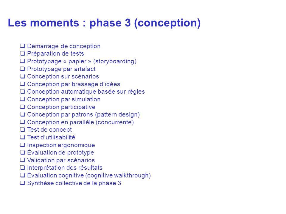 Les moments : phase 3 (conception) Démarrage de conception Préparation de tests Prototypage « papier » (storyboarding) Prototypage par artefact Concep