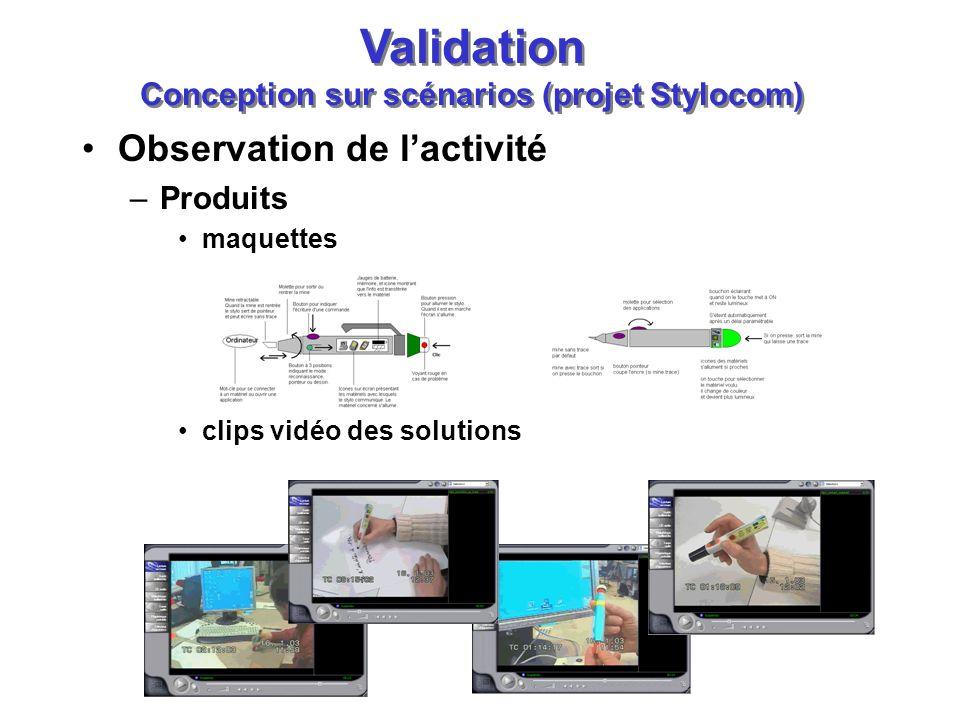 Observation de lactivité –Produits maquettes clips vidéo des solutions Validation Conception sur scénarios (projet Stylocom)