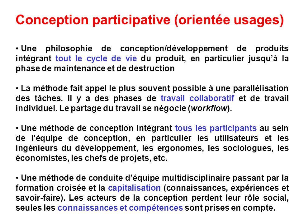 Conception participative (orientée usages) Une philosophie de conception/développement de produits intégrant tout le cycle de vie du produit, en parti