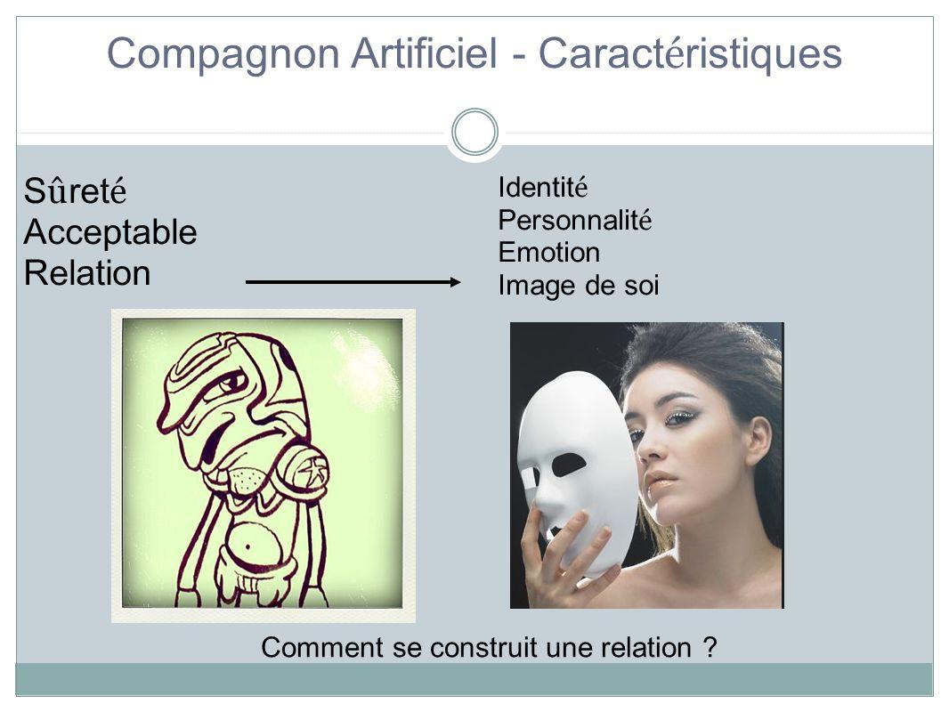 Compagnon Artificiel - Caract é ristiques S û ret é Acceptable Relation Identit é Personnalit é Emotion Image de soi Comment se construit une relation