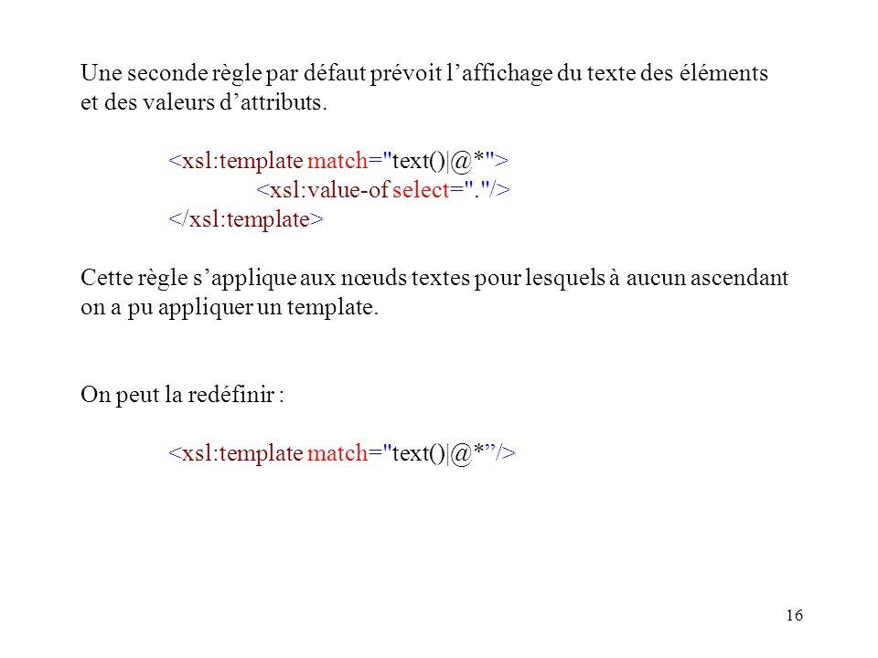 16 Une seconde règle par défaut prévoit laffichage du texte des éléments et des valeurs dattributs. Cette règle sapplique aux nœuds textes pour lesque