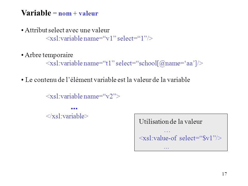 17 Variable = nom + valeur Attribut select avec une valeur Arbre temporaire Le contenu de lélément variable est la valeur de la variable... Utilisatio