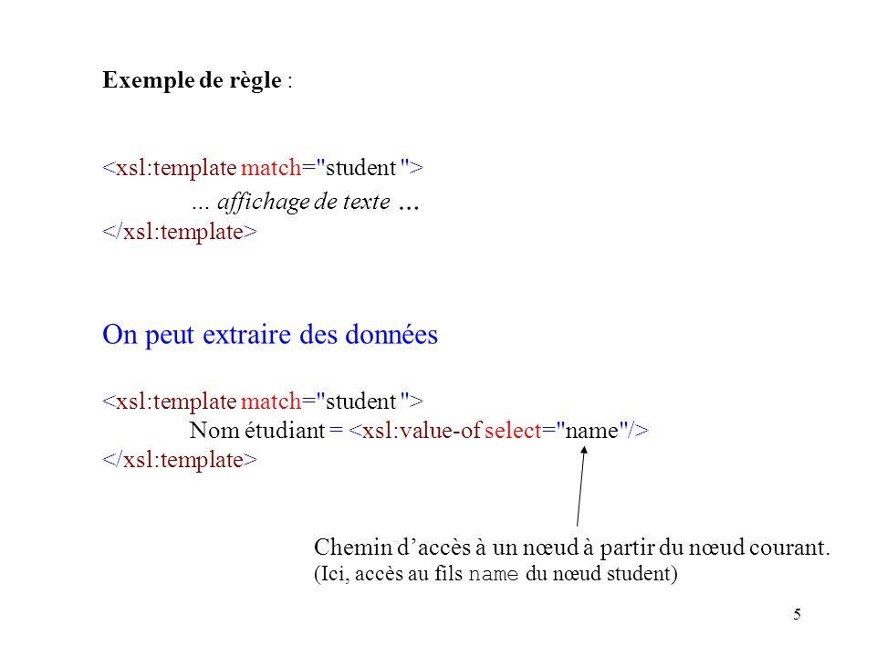 5 Exemple de règle : … affichage de texte … On peut extraire des données Nom étudiant = Chemin daccès à un nœud à partir du nœud courant.