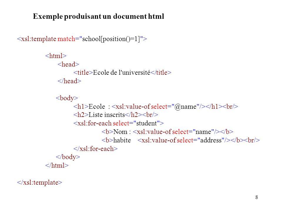 8 Exemple produisant un document html Ecole de l'université Ecole : Liste inscrits Nom : habite