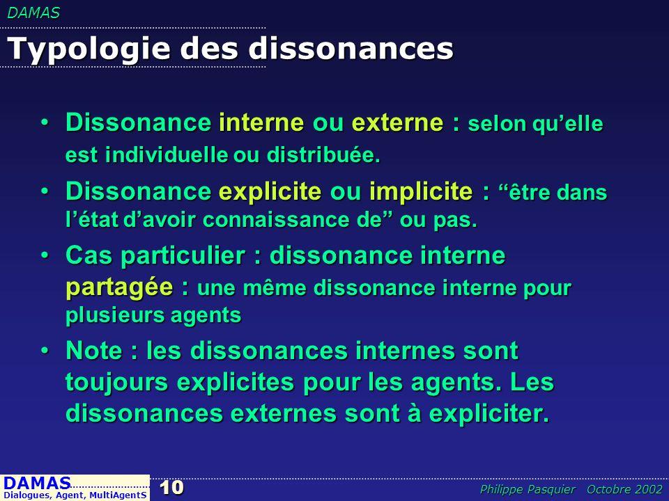 DAMAS10 DAMAS Dialogues, Agent, MultiAgentS ……………………… Philippe Pasquier Octobre 2002 Typologie des dissonances Dissonance interne ou externe : selon q