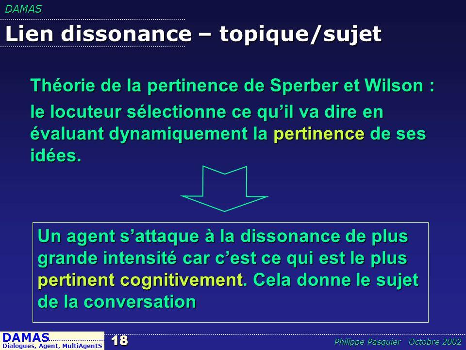 DAMAS18 DAMAS Dialogues, Agent, MultiAgentS ……………………… Philippe Pasquier Octobre 2002 Lien dissonance – topique/sujet Un agent sattaque à la dissonance