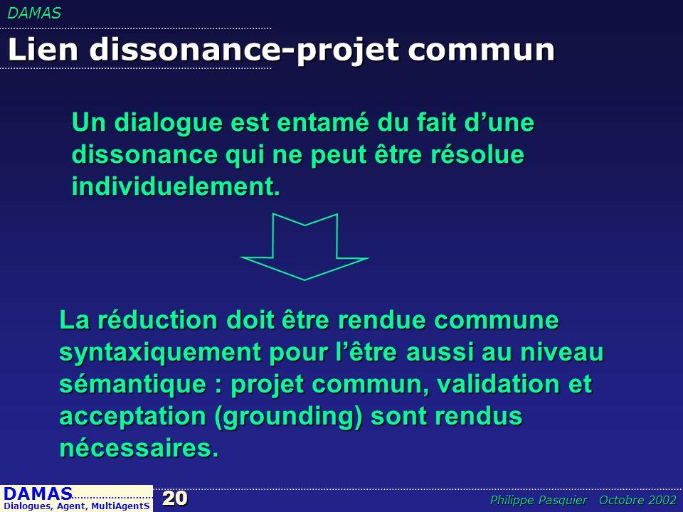 DAMAS20 DAMAS Dialogues, Agent, MultiAgentS ……………………… Philippe Pasquier Octobre 2002 Lien dissonance-projet commun La réduction doit être rendue commu
