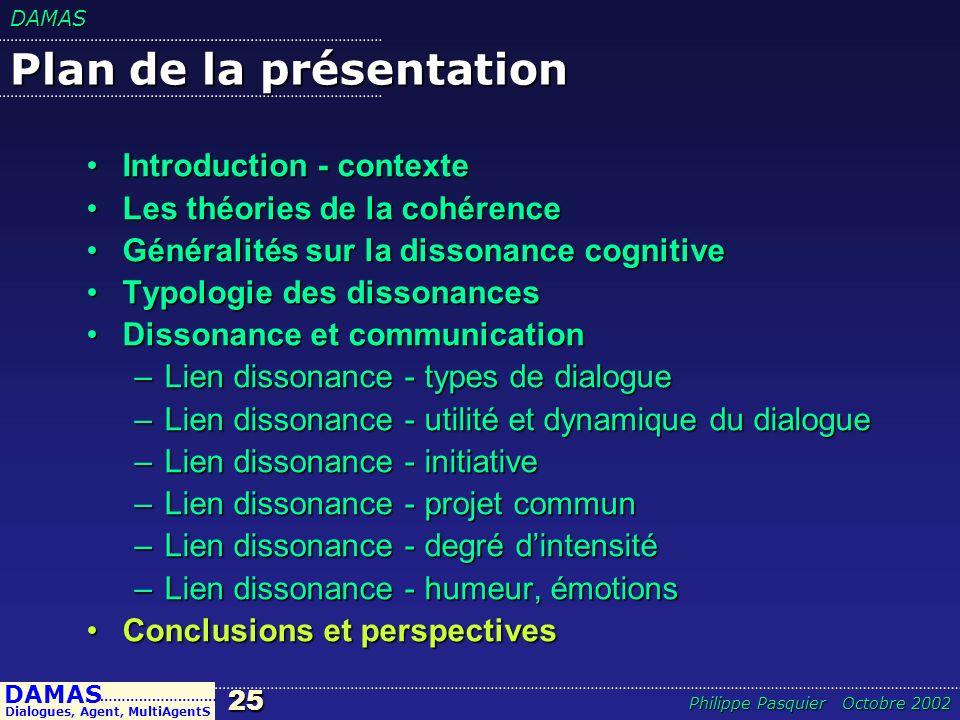 DAMAS25 DAMAS Dialogues, Agent, MultiAgentS ……………………… Philippe Pasquier Octobre 2002 Plan de la présentation Introduction - contexteIntroduction - con