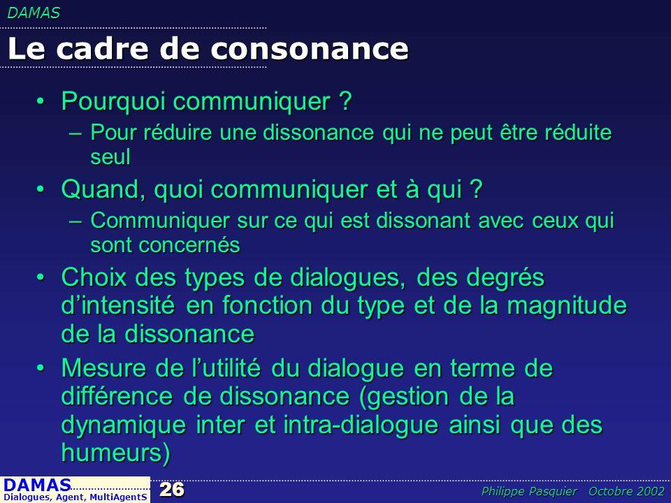 DAMAS26 DAMAS Dialogues, Agent, MultiAgentS ……………………… Philippe Pasquier Octobre 2002 Le cadre de consonance Pourquoi communiquer ?Pourquoi communiquer