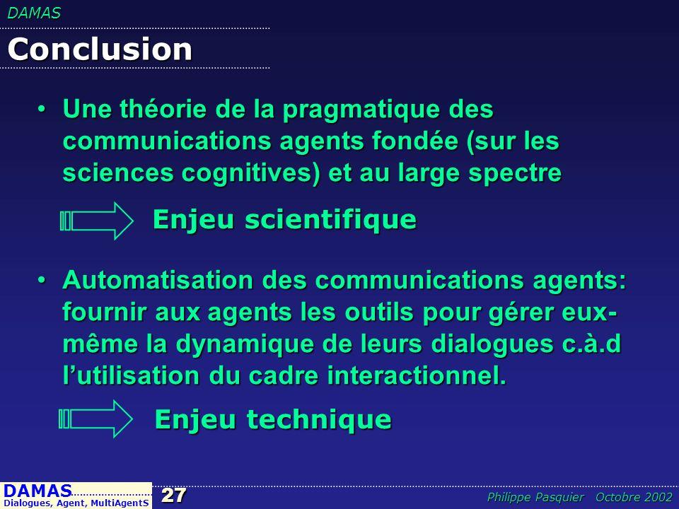 DAMAS27 DAMAS Dialogues, Agent, MultiAgentS ……………………… Philippe Pasquier Octobre 2002 Conclusion Une théorie de la pragmatique des communications agent