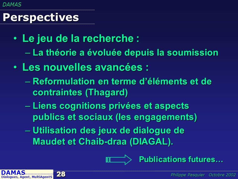 DAMAS28 DAMAS Dialogues, Agent, MultiAgentS ……………………… Philippe Pasquier Octobre 2002 Perspectives Le jeu de la recherche :Le jeu de la recherche : –La