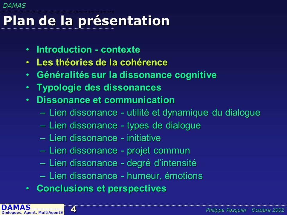 DAMAS15 DAMAS Dialogues, Agent, MultiAgentS ……………………… Philippe Pasquier Octobre 2002 Typologie des dialogues 1.Persuasion ; 2.Négociation ; 3.Délibération ; 4.Linvestigation ; 5.La recherche dinformation ; 6.Lengueulade.