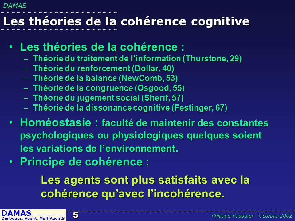 DAMAS5 DAMAS Dialogues, Agent, MultiAgentS ……………………… Philippe Pasquier Octobre 2002 Les théories de la cohérence cognitive Les théories de la cohérenc
